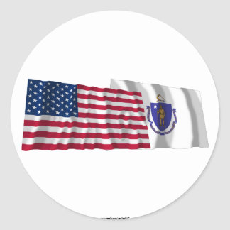 United States and Massachusetts Waving Flags Stickers