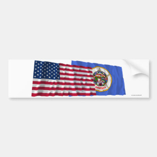 United States and Minnesota Waving Flags Car Bumper Sticker