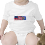 United States and Minnesota Waving Flags T Shirts