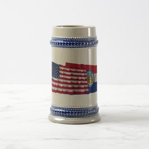 United States and Missouri Waving Flags 18 Oz Beer Stein
