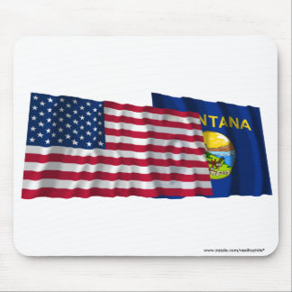 United States and Montana Waving Flags Mouse Pad