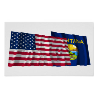 United States and Montana Waving Flags Posters