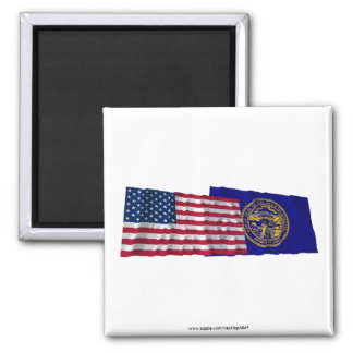 United States and Nebraska Waving Flags Magnets