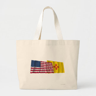 United States and New Mexico Waving Flags Tote Bag