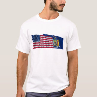 United States and New York Waving Flags T-Shirt