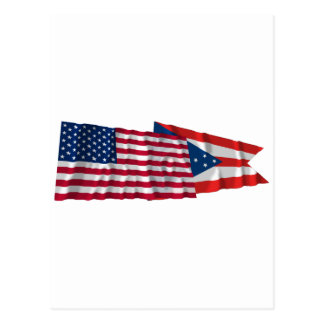 United States and Ohio Waving Flags Postcard