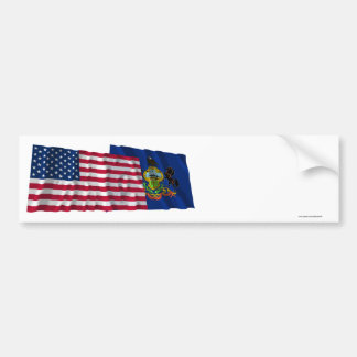 United States and Pennsylvania Waving Flags Bumper Sticker