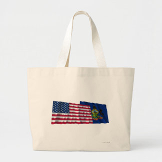 United States and Pennsylvania Waving Flags Large Tote Bag