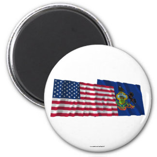 United States and Pennsylvania Waving Flags Refrigerator Magnets