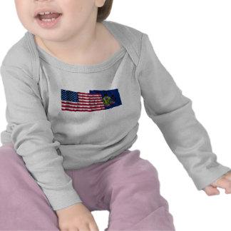 United States and Pennsylvania Waving Flags Shirt