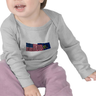 United States and Pennsylvania Waving Flags Tees