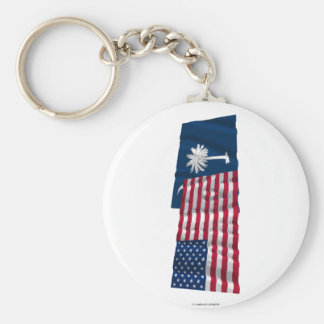 United States and South Carolina Waving Flags Keychains