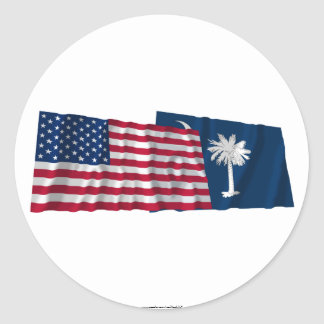 United States and South Carolina Waving Flags Round Stickers