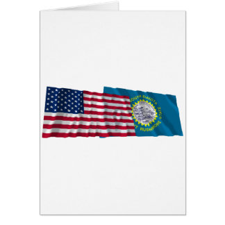 United States and South Dakota Waving Flags Card