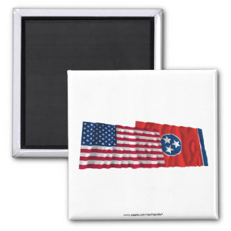 United States and Tennessee Waving Flags Magnet
