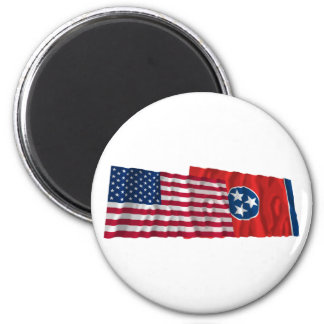 United States and Tennessee Waving Flags Fridge Magnets