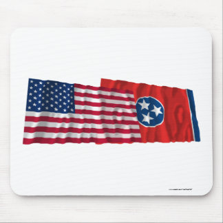 United States and Tennessee Waving Flags Mouse Pad