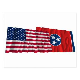 United States and Tennessee Waving Flags Post Card