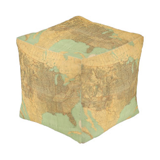 United States and Territories Cube Pouf