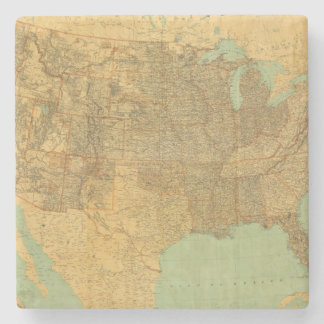 United States and Territories Stone Beverage Coaster