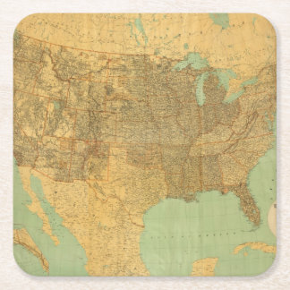 United States and Territories Square Paper Coaster