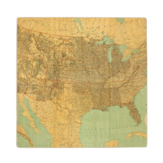 United States and Territories Wood Coaster