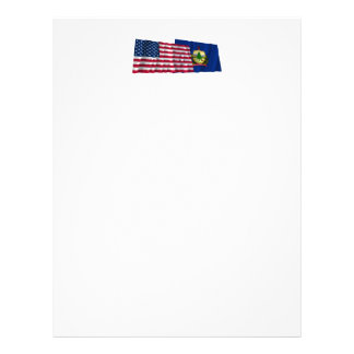 United States and Vermont Waving Flags Letterhead