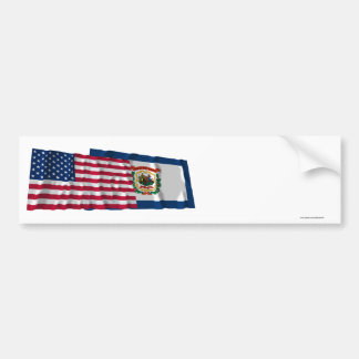 United States and West Virginia Waving Flags Bumper Sticker