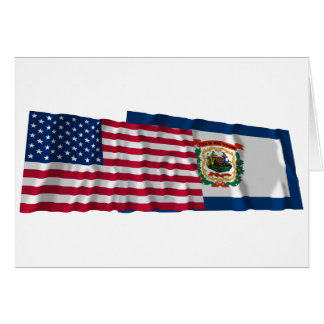 United States and West Virginia Waving Flags Card