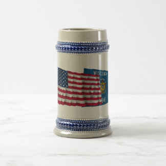United States and Wisconsin Waving Flags 18 Oz Beer Stein