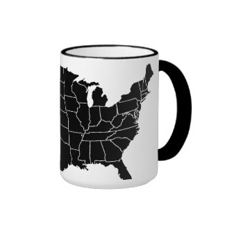 United States B&W Map Coffee Cup Ringer Coffee Mug