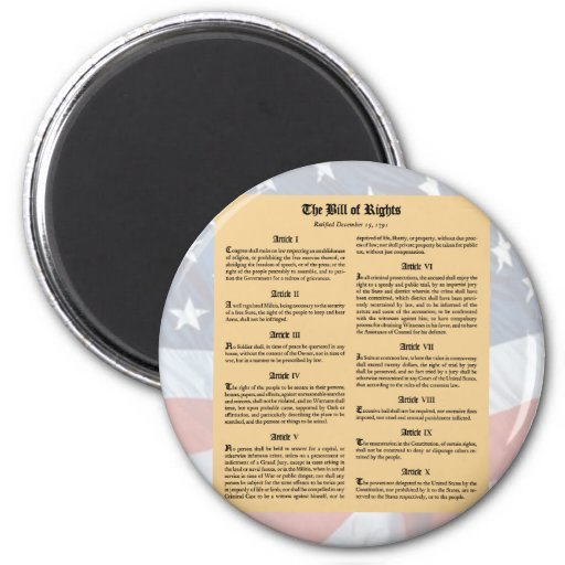 United States Bill of Rights 2 Inch Round Magnet