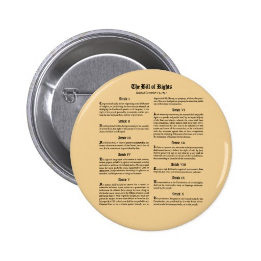 United States Bill of Rights Buttons