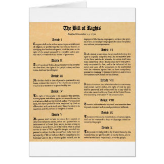 United States Bill of Rights Card