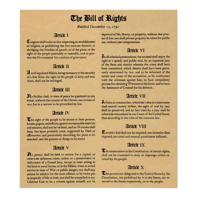 Constitution First 10 Amendments Historic Wall POSTER THE BILL OF RIGHTS U.S
