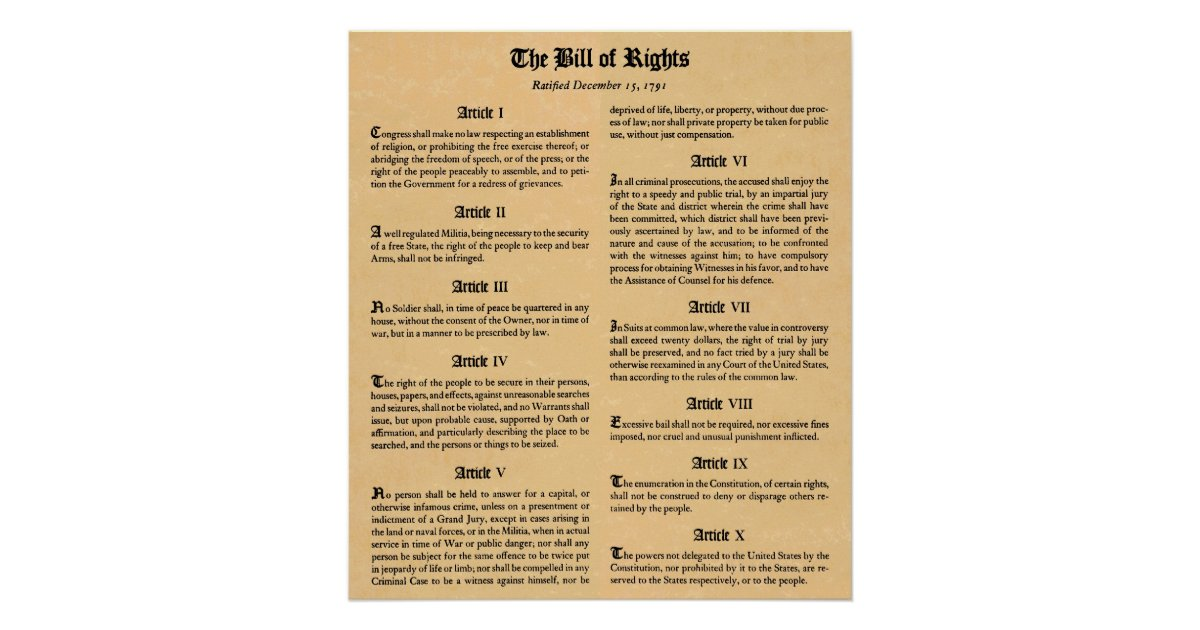 United States Bill of Rights First Ten Amendments Poster ...
