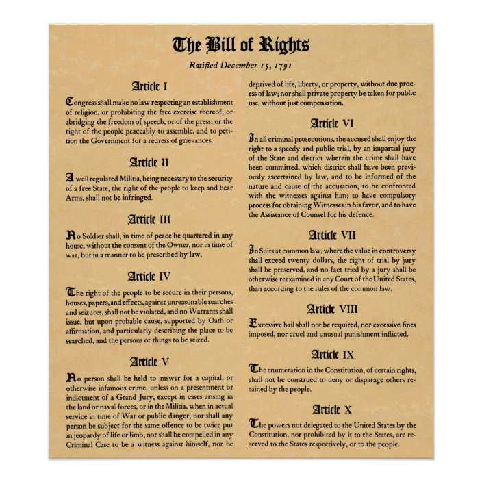 United States Bill of Rights First Ten Amendments Poster | Zazzle.com