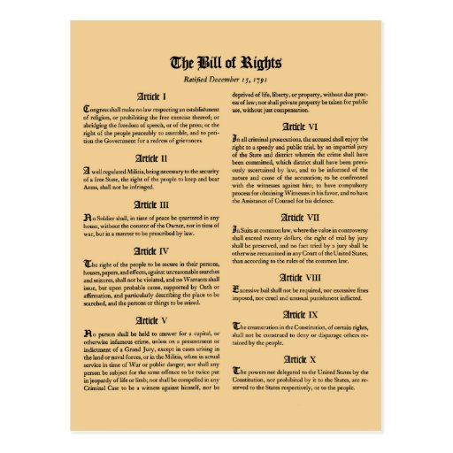 United States Bill of Rights Post Cards