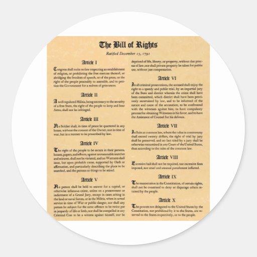 United States Bill of Rights Sticker
