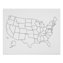 United States blank map US outline poster