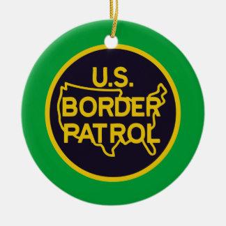 United States Border Patrol Double-Sided Ceramic Round Christmas Ornament
