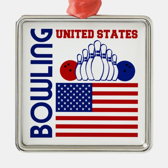 United States Bowling Metal Ornament