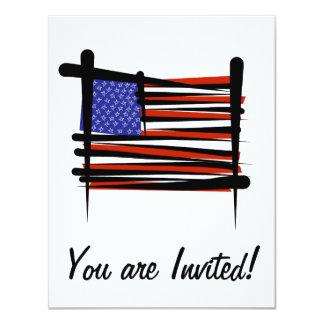 United States Brush Flag 4.25x5.5 Paper Invitation Card