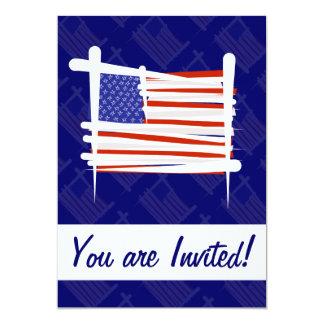 United States Brush Flag 5x7 Paper Invitation Card