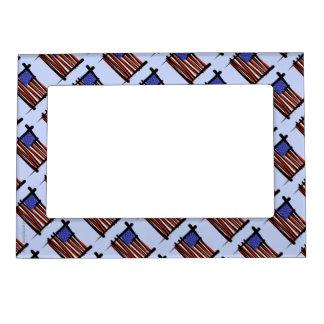 United States Brush Flag Magnetic Photo Frame