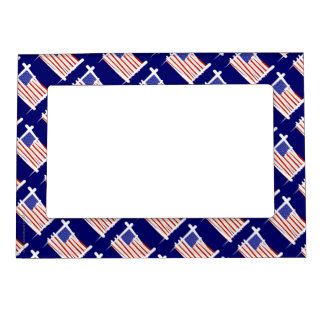 United States Brush Flag Magnetic Picture Frame