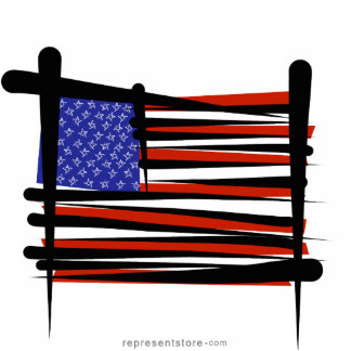 United States Brush Flag Statuette