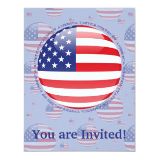 United States Bubble Flag 4.25x5.5 Paper Invitation Card