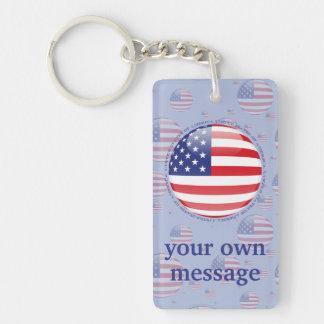 United States Bubble Flag Double-Sided Rectangular Acrylic Keychain