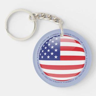 United States Bubble Flag Double-Sided Round Acrylic Keychain